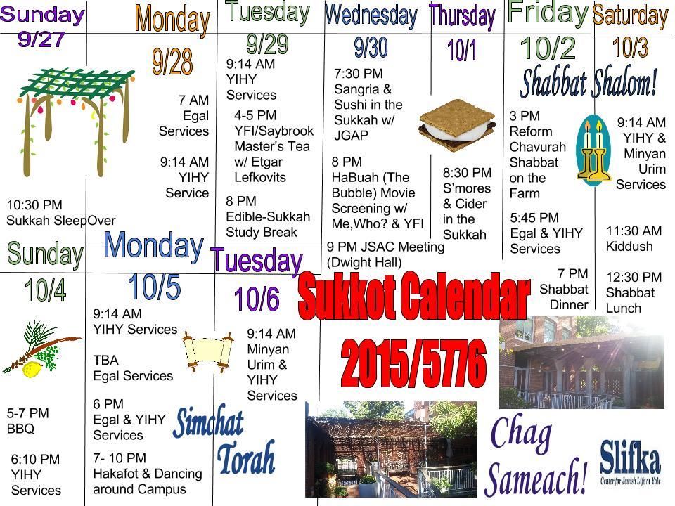 Sukkot Calendar 2015